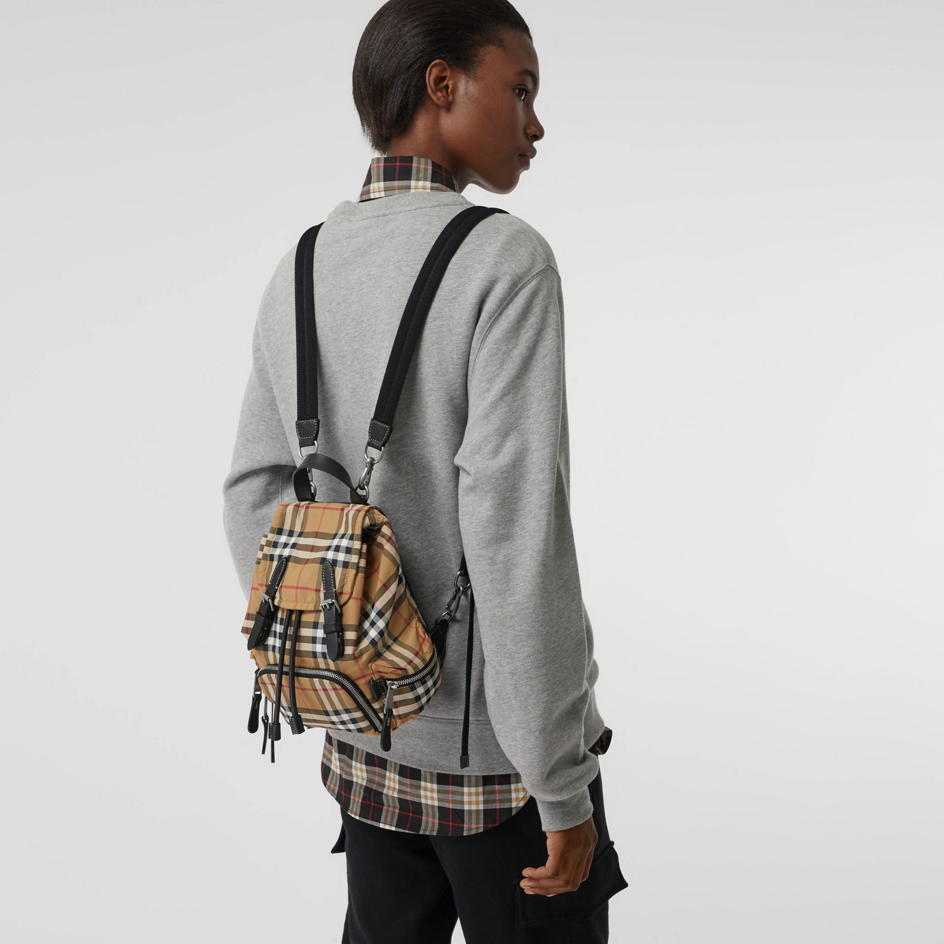 The Small Crossbody Rucksack in Vintage Check in Antique Yellow - Women | Burberry Australia - gallery image 2