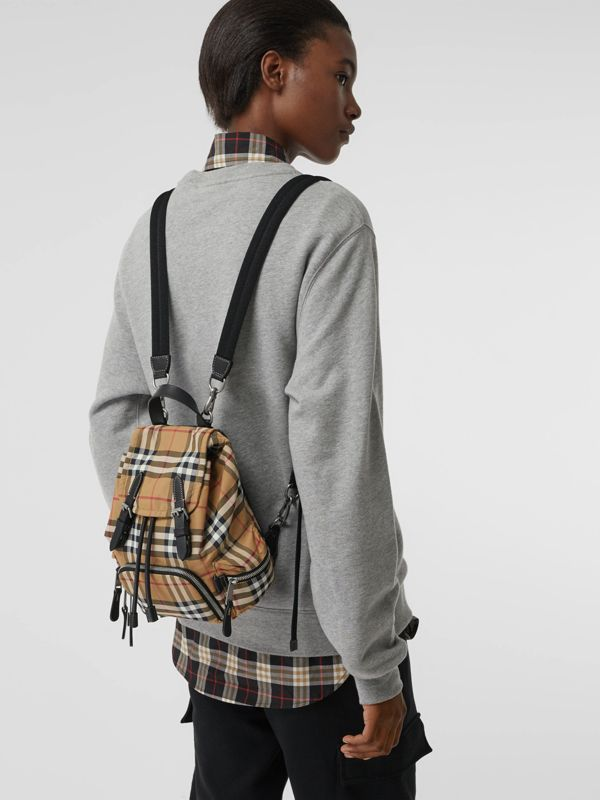 The Small Crossbody Rucksack in Vintage Check in Antique Yellow - Women | Burberry Hong Kong S.A.R - cell image 2