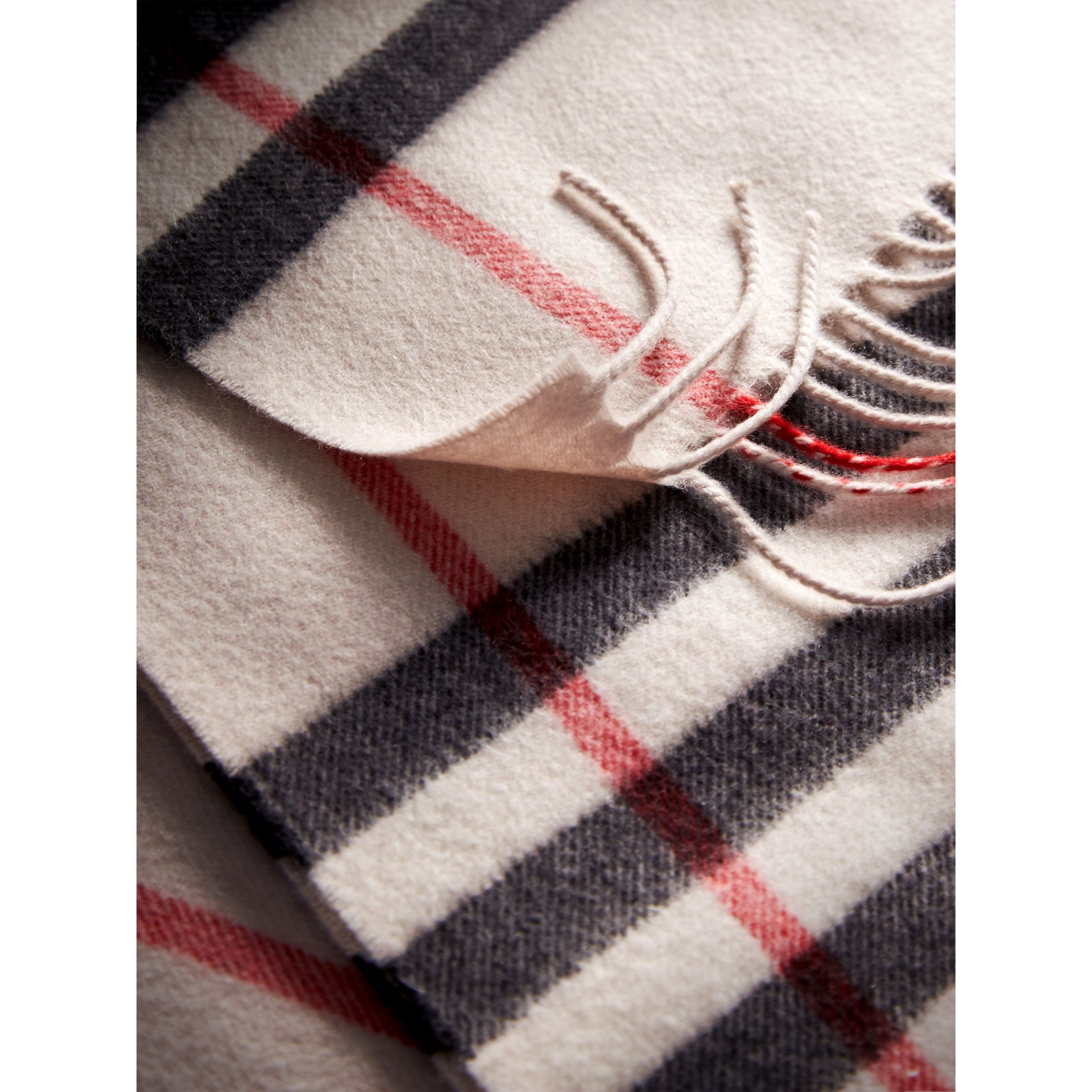 The Classic Check Cashmere Scarf in Stone | Burberry - gallery image 4