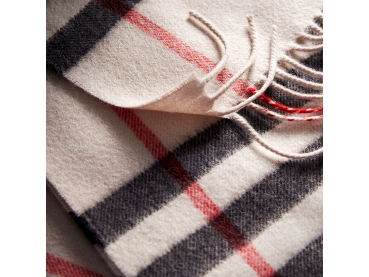 The Classic Check Cashmere Scarf in Stone | Burberry Singapore - cell image 4