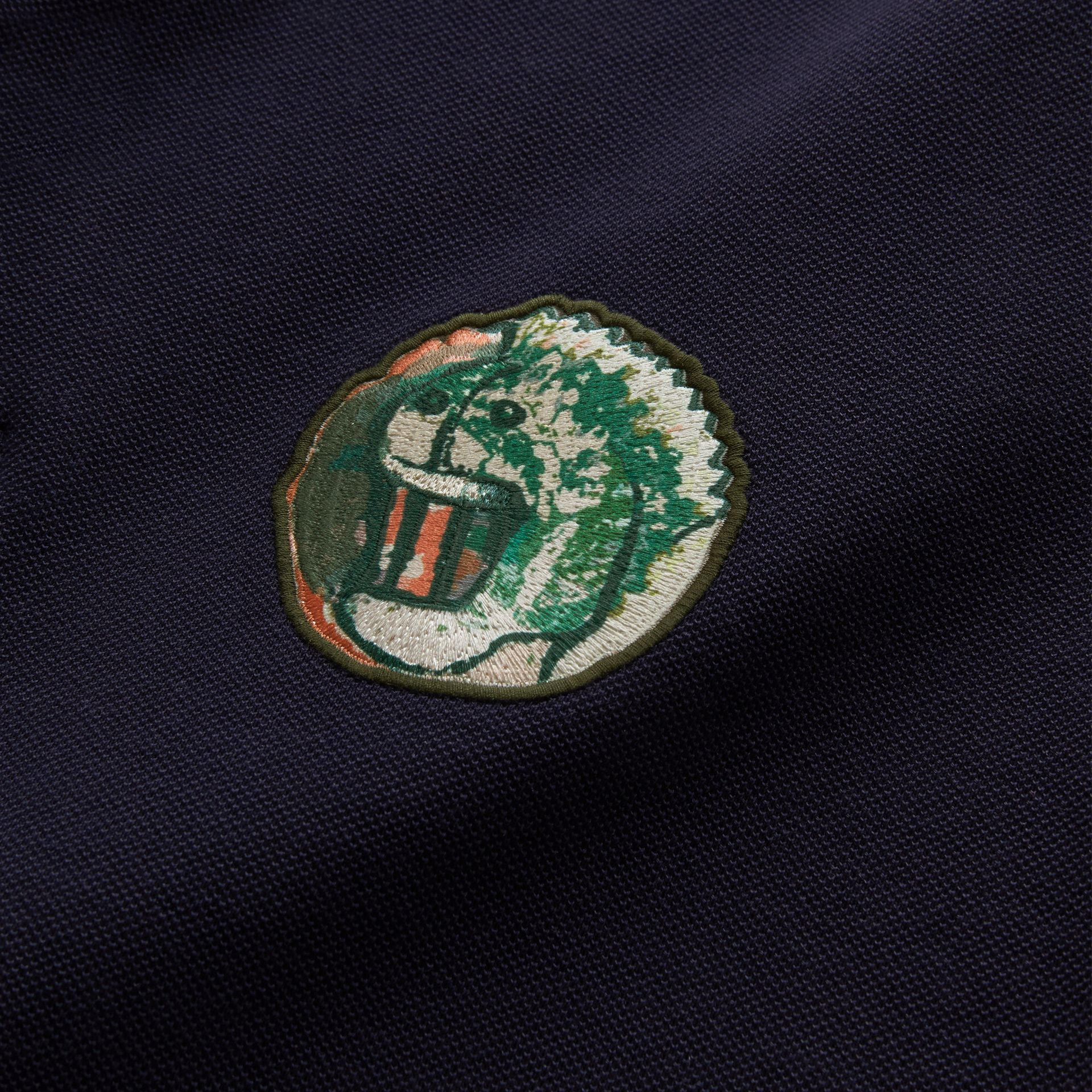 Pallas Heads Appliqué Cotton Polo Shirt in Dark Navy - gallery image 2