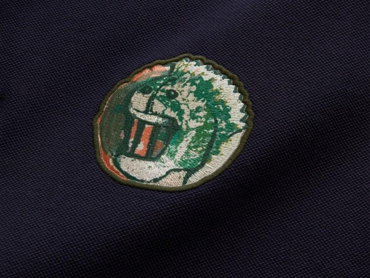 Pallas Heads Appliqué Cotton Polo Shirt in Dark Navy - cell image 1