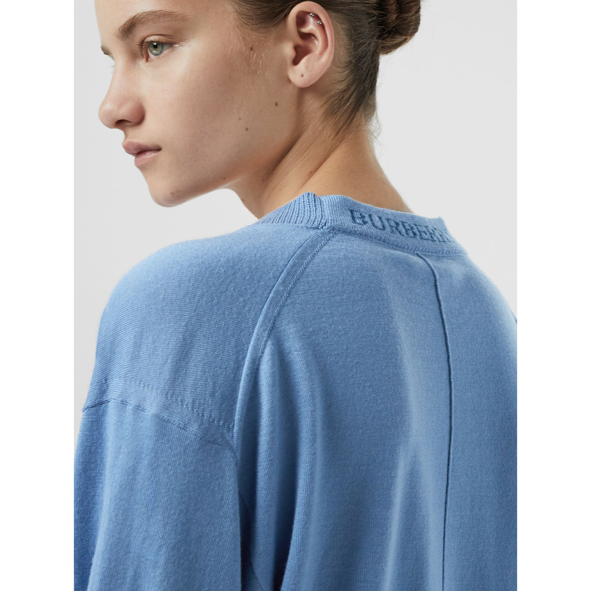 Logo Detail Merino Wool Cardigan in Pebble Blue - Women | Burberry - gallery image 1