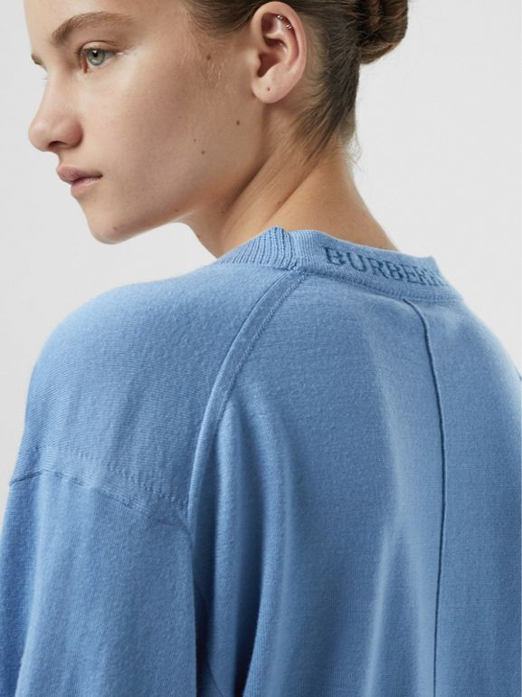 Logo Detail Merino Wool Cardigan in Pebble Blue - Women | Burberry - cell image 1