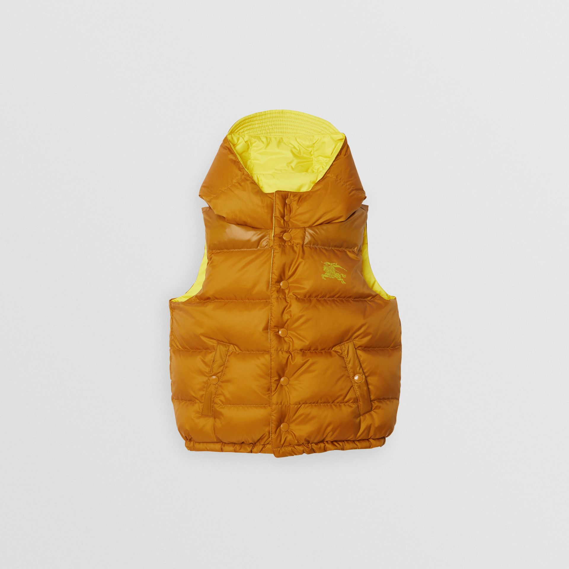Reversible Showerproof Down-filled Hooded Gilet in Citrus Yellow | Burberry United States - gallery image 3