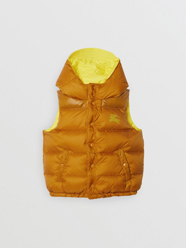 Reversible Showerproof Down-filled Hooded Gilet in Citrus Yellow | Burberry United States - cell image 3