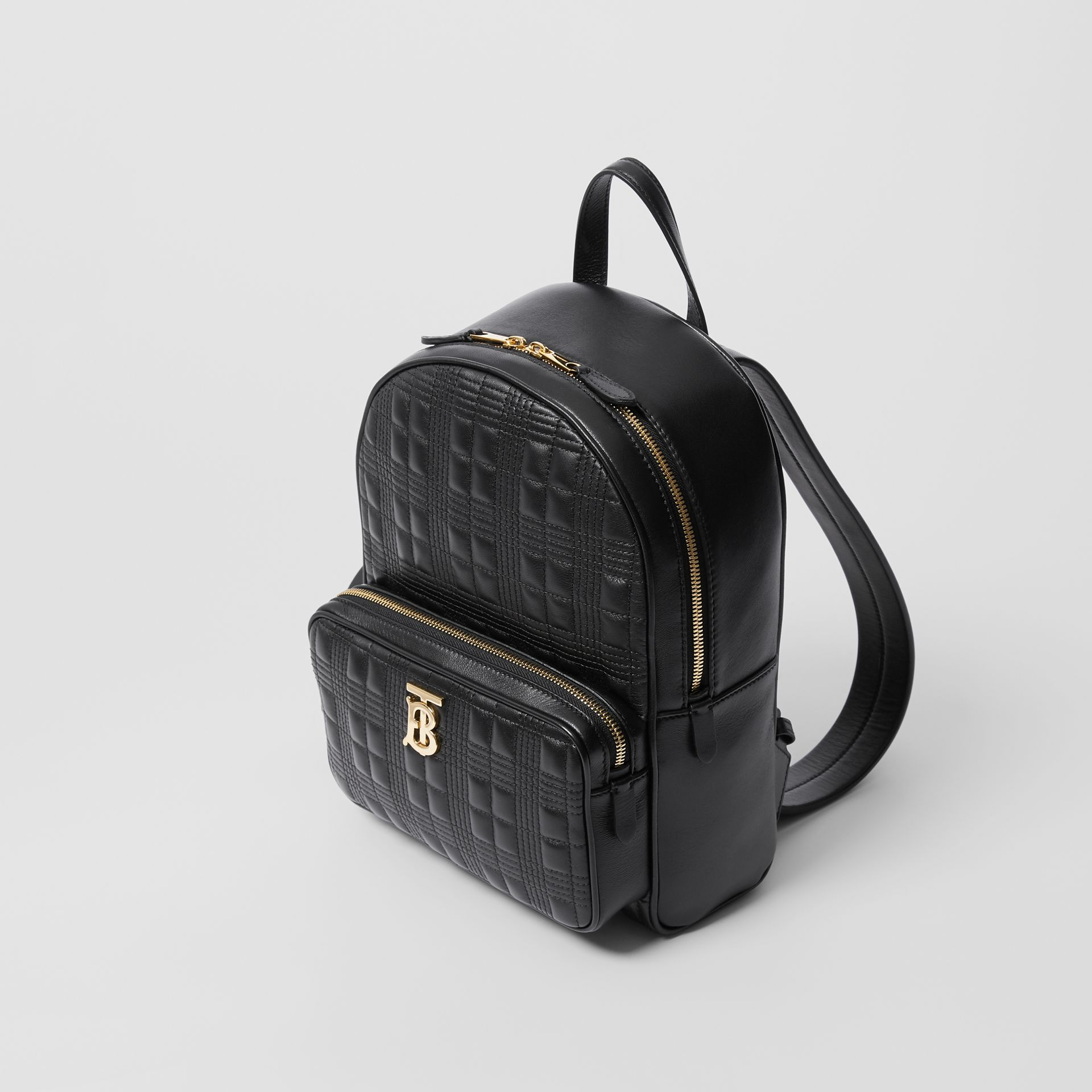 Quilted Check Lambskin Backpack in Black - Women | Burberry - gallery image 2
