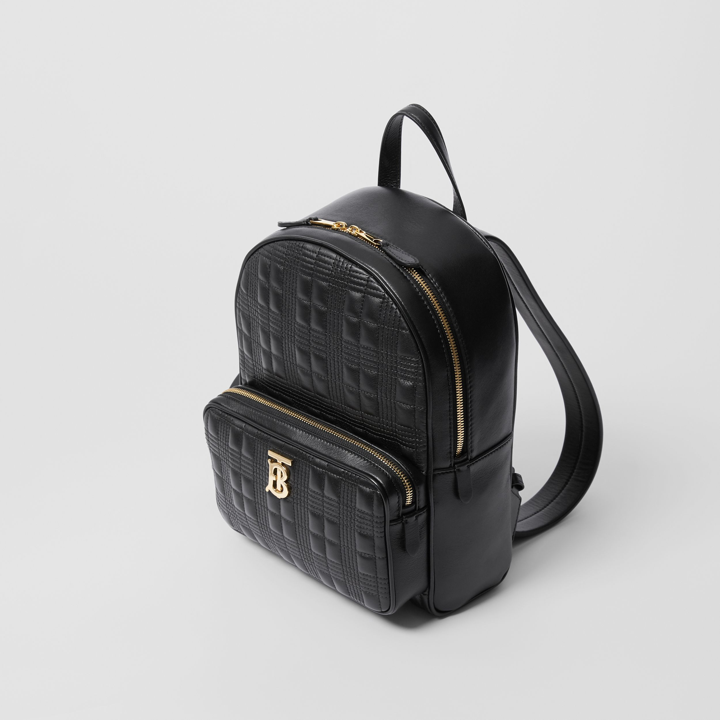 Quilted Check Lambskin Backpack in Black - Women | Burberry - 4