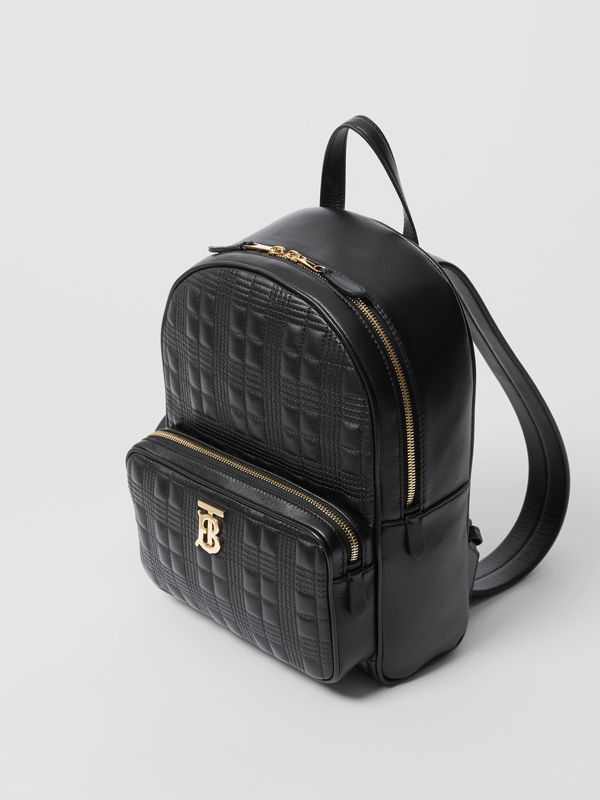 Quilted Check Lambskin Backpack in Black - Women | Burberry - cell image 3