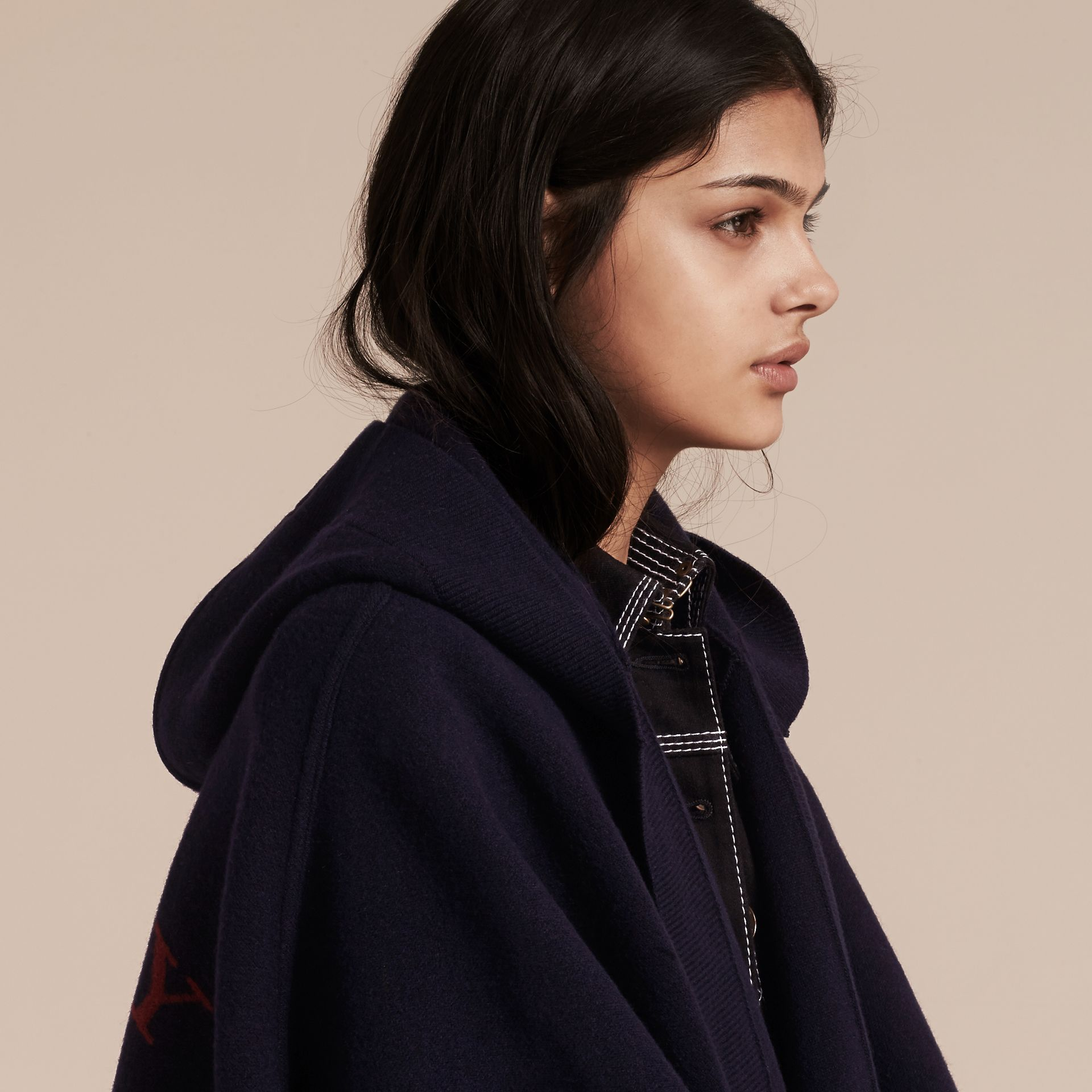 Navy/black Wool Cashmere Blend Hooded Poncho Navy/black - gallery image 5