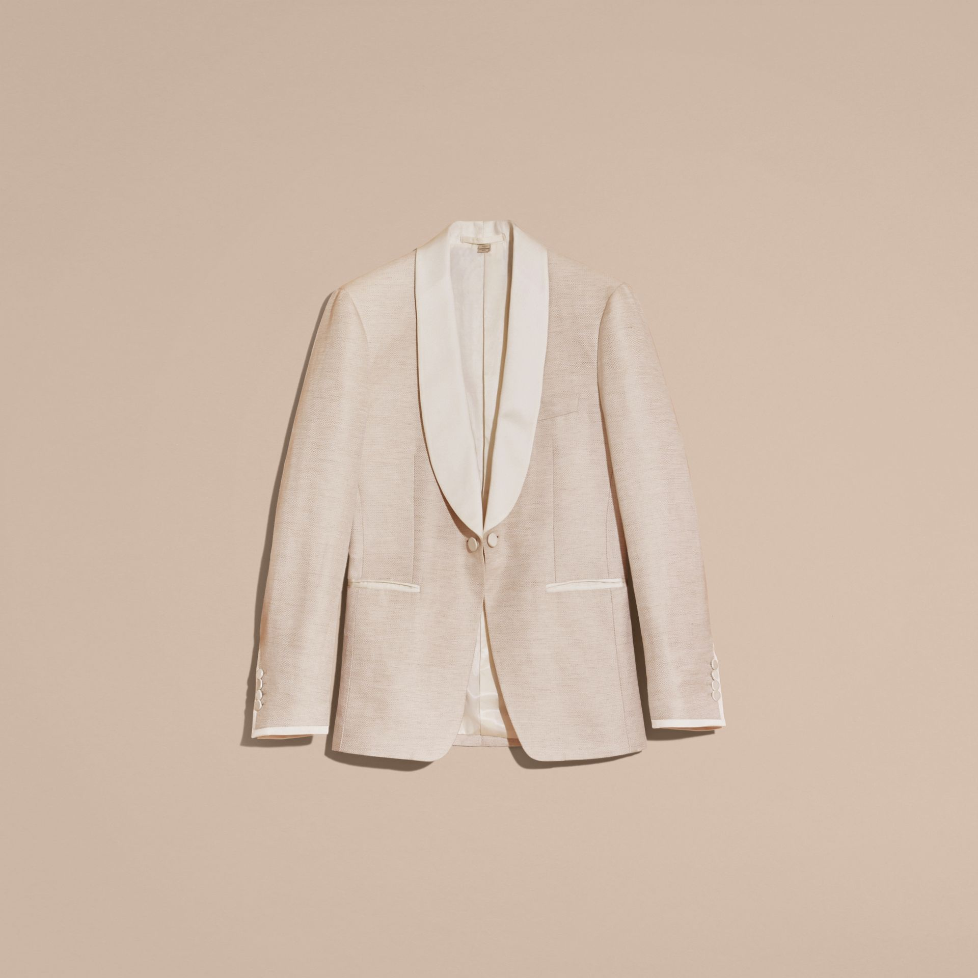 Slim Fit Shawl Lapel Linen Silk Evening Jacket in Stone - gallery image 4