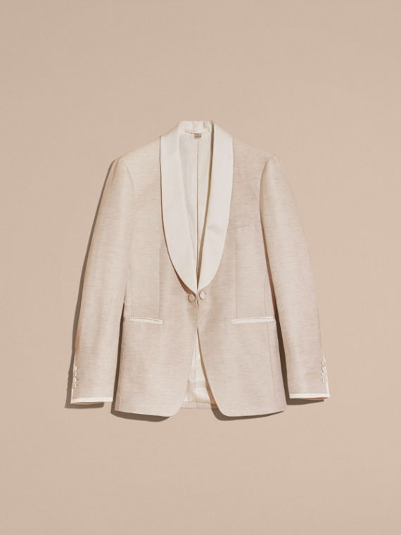 Slim Fit Shawl Lapel Linen Silk Evening Jacket in Stone - cell image 3