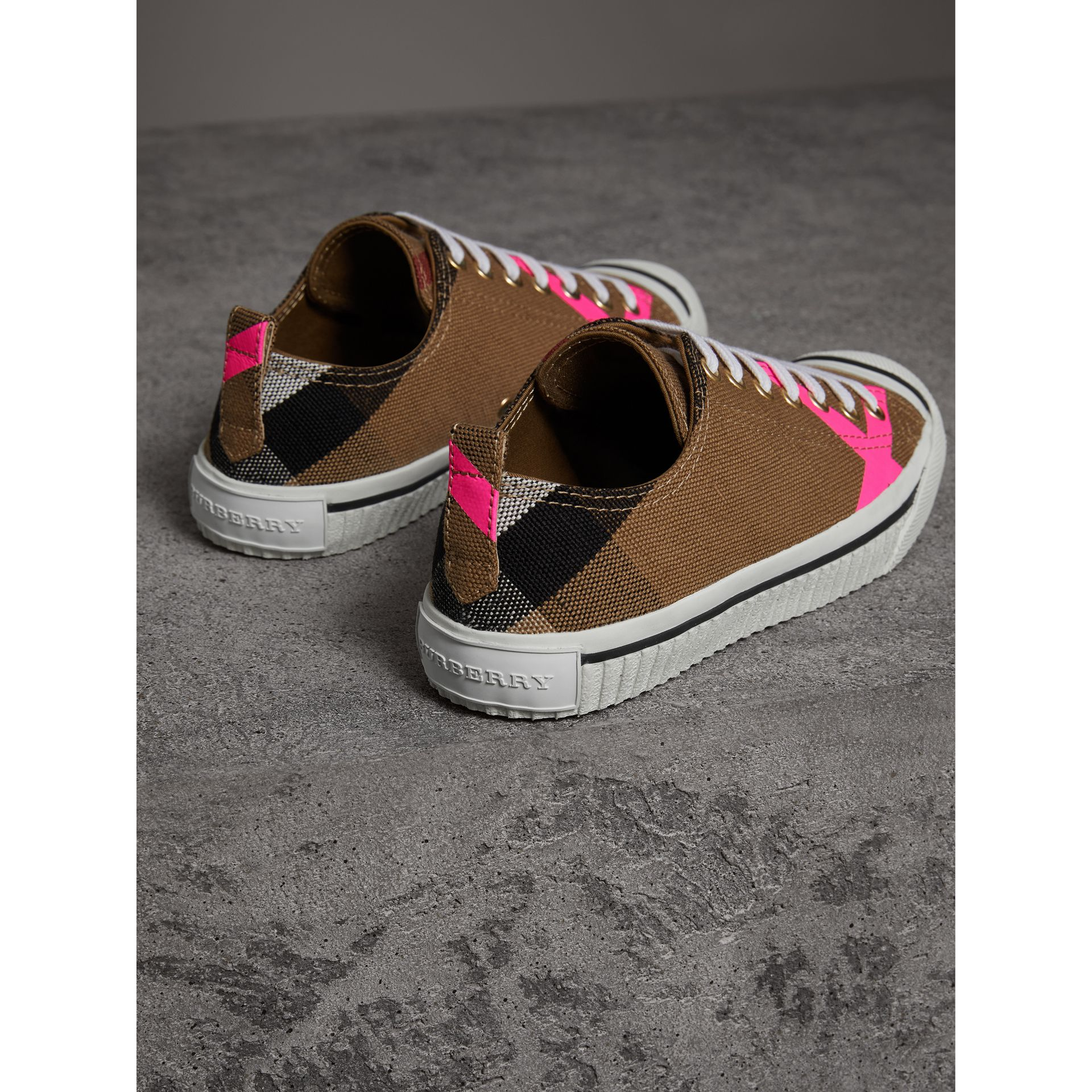 Canvas Check and Leather Sneakers in Classic/neon Pink - Women | Burberry United Kingdom - gallery image 3