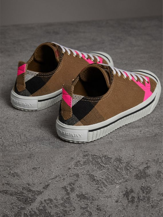 Canvas Check and Leather Sneakers in Classic/neon Pink - Women | Burberry United Kingdom - cell image 3