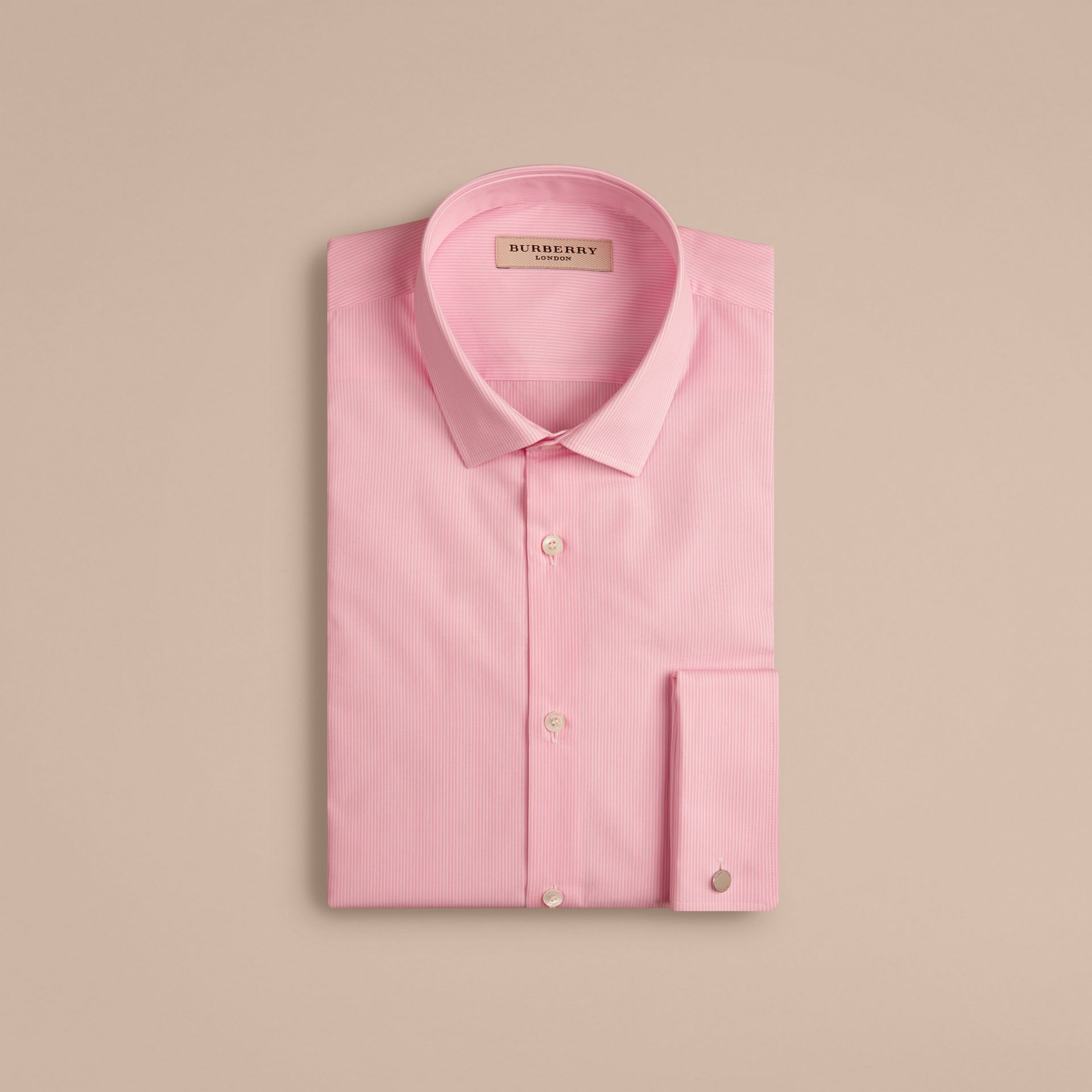 Slim Fit Double-cuff Striped Cotton Poplin Shirt in City Pink - gallery image 4