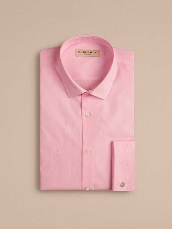 Slim Fit Double-cuff Striped Cotton Poplin Shirt in City Pink - cell image 3