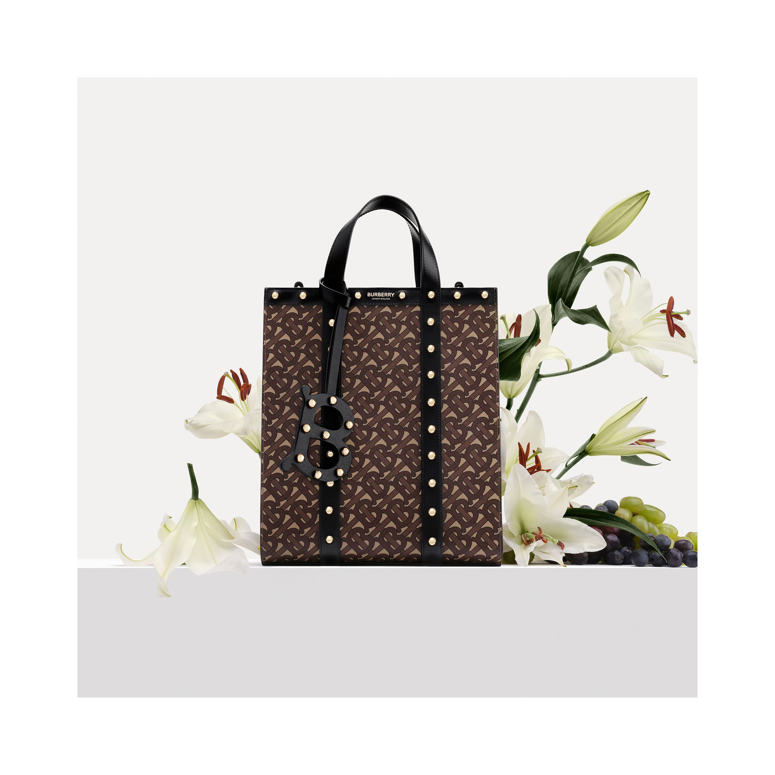 Monogram Print E-canvas Portrait Tote Bag in Black | Burberry - 2