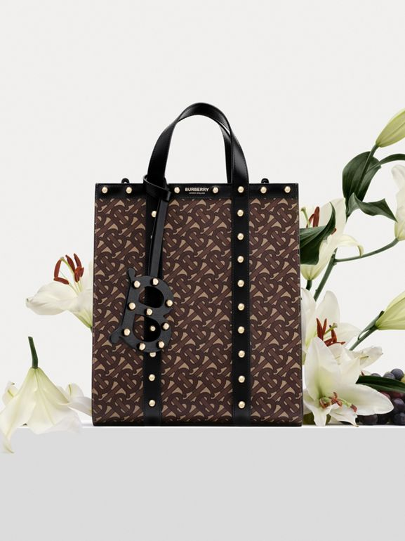 Monogram Print E-canvas Portrait Tote Bag in Black | Burberry Hong Kong S.A.R - cell image 1