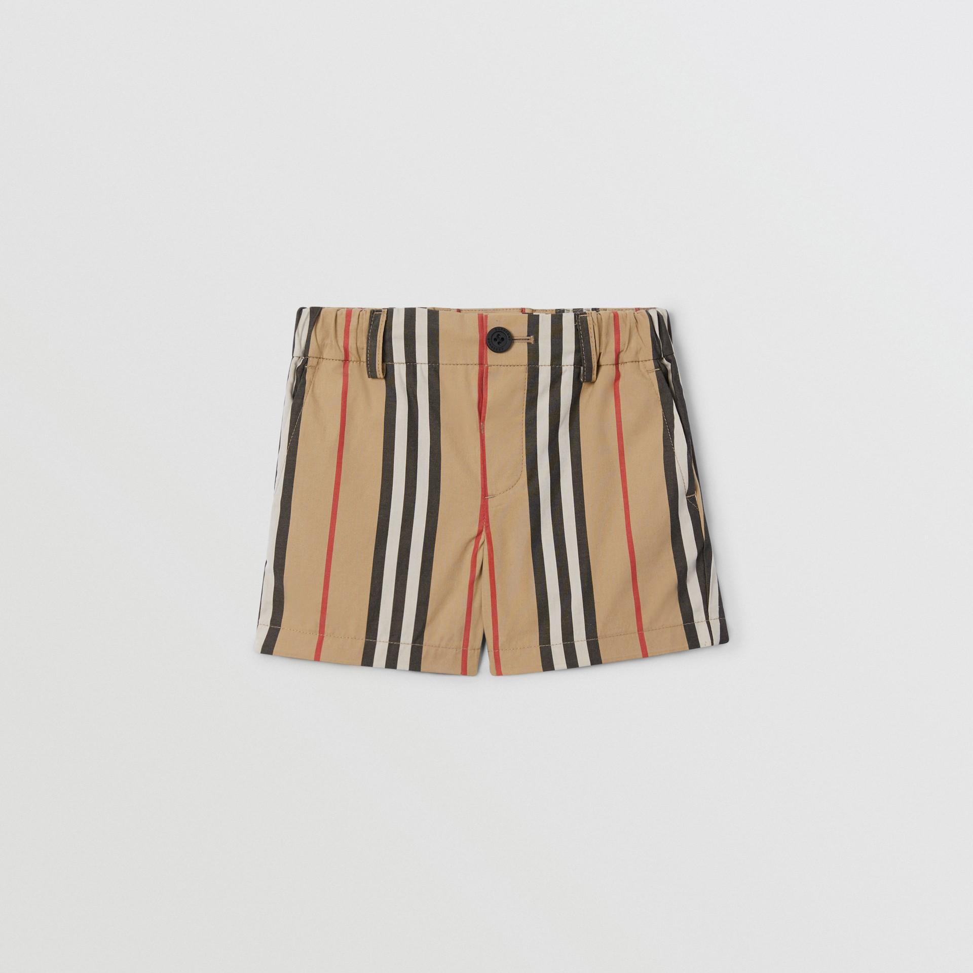 Icon Stripe Cotton Chino Shorts in Archive Beige - Children | Burberry - gallery image 0