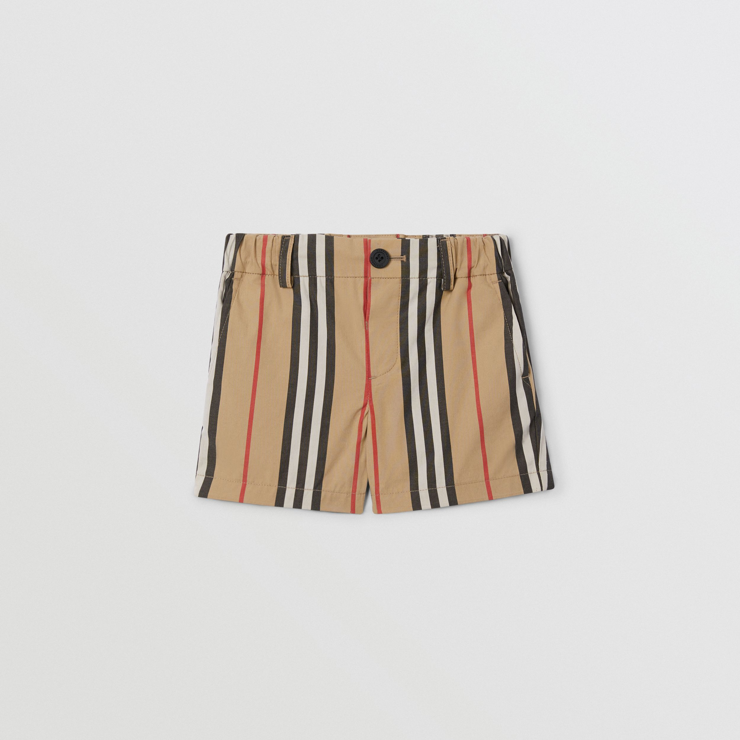Icon Stripe Cotton Chino Shorts in Archive Beige - Children | Burberry - 1
