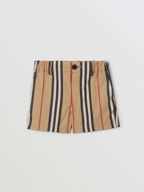 Icon Stripe Cotton Chino Shorts in Archive Beige