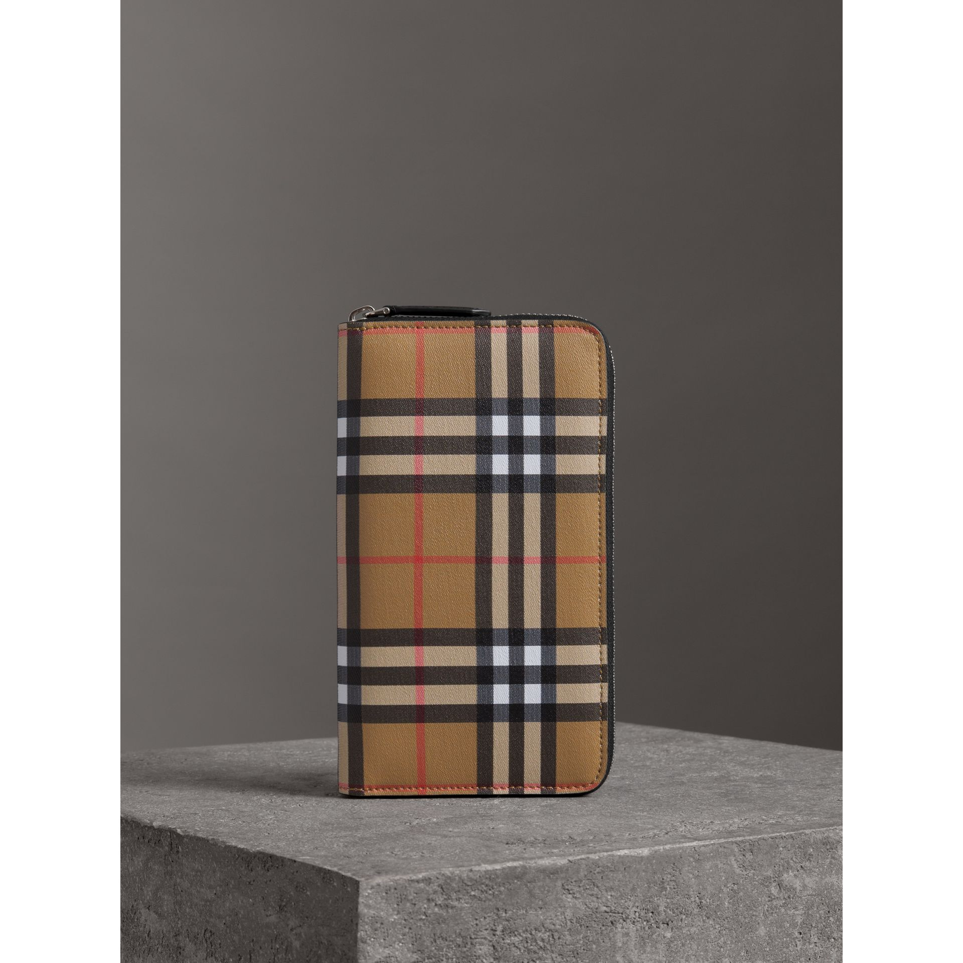 Vintage Check and Leather Ziparound Wallet in Antique Yellow/black - Men | Burberry - gallery image 4