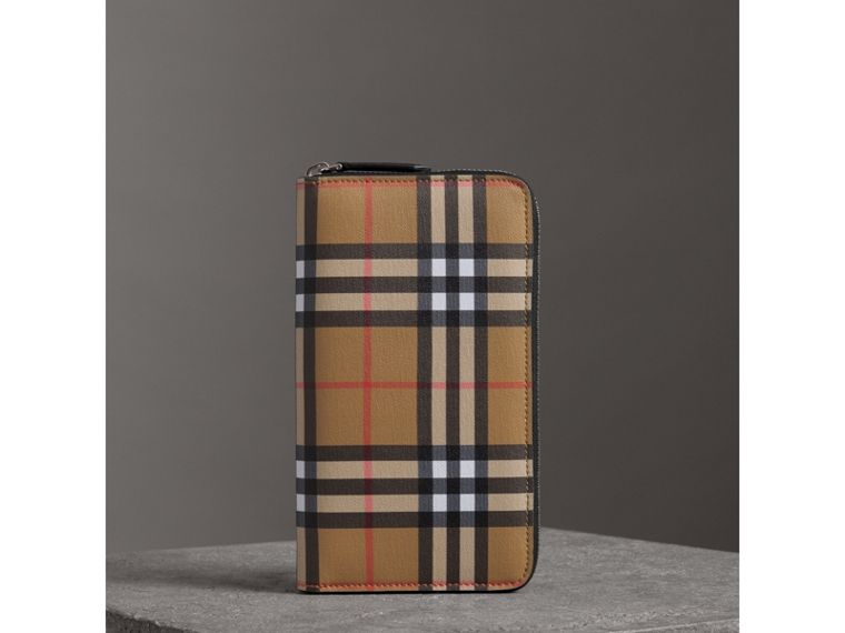 Vintage Check and Leather Ziparound Wallet in Antique Yellow/black - Men | Burberry - cell image 4