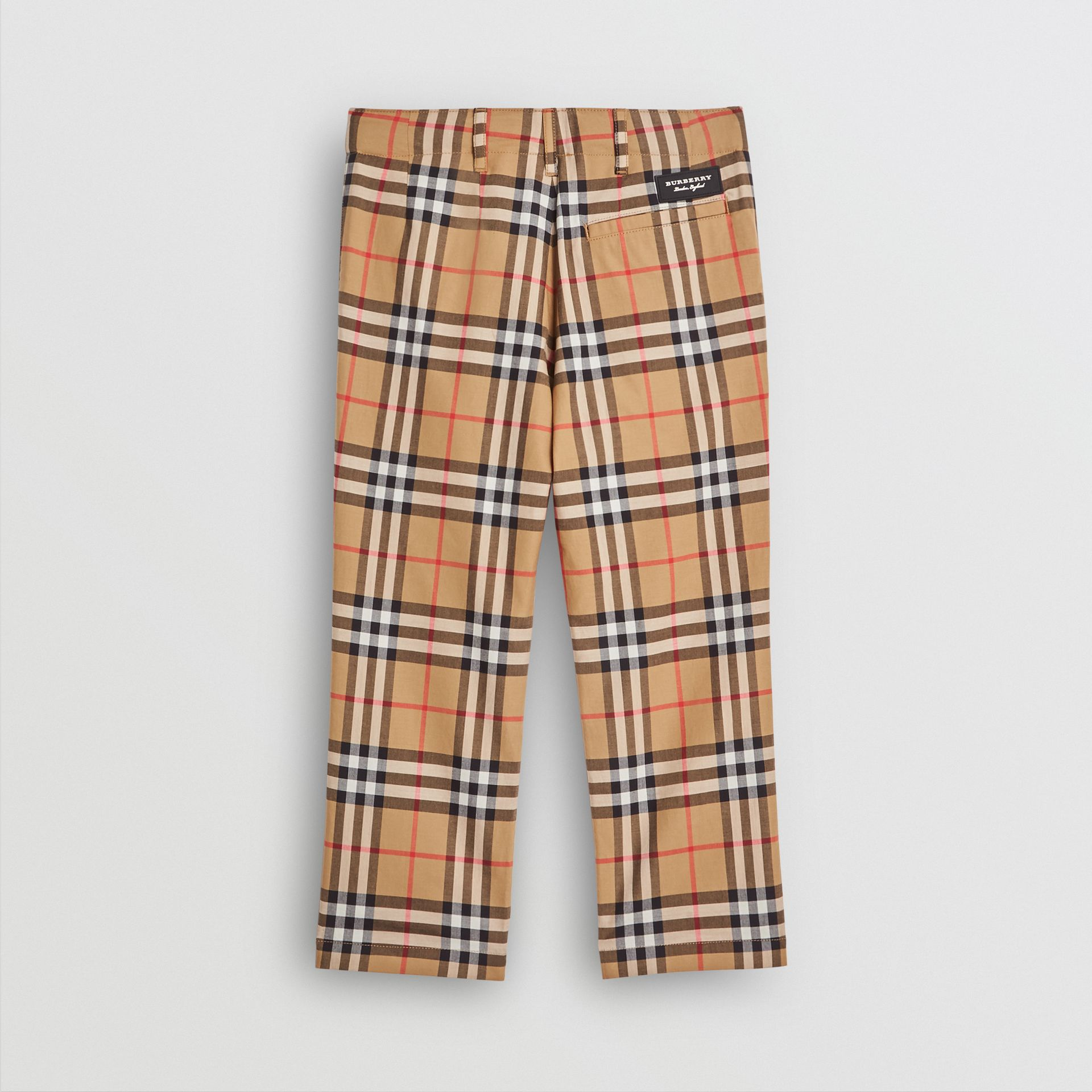 Vintage Check Cotton Tailored Trousers in Antique Yellow | Burberry United States - gallery image 3
