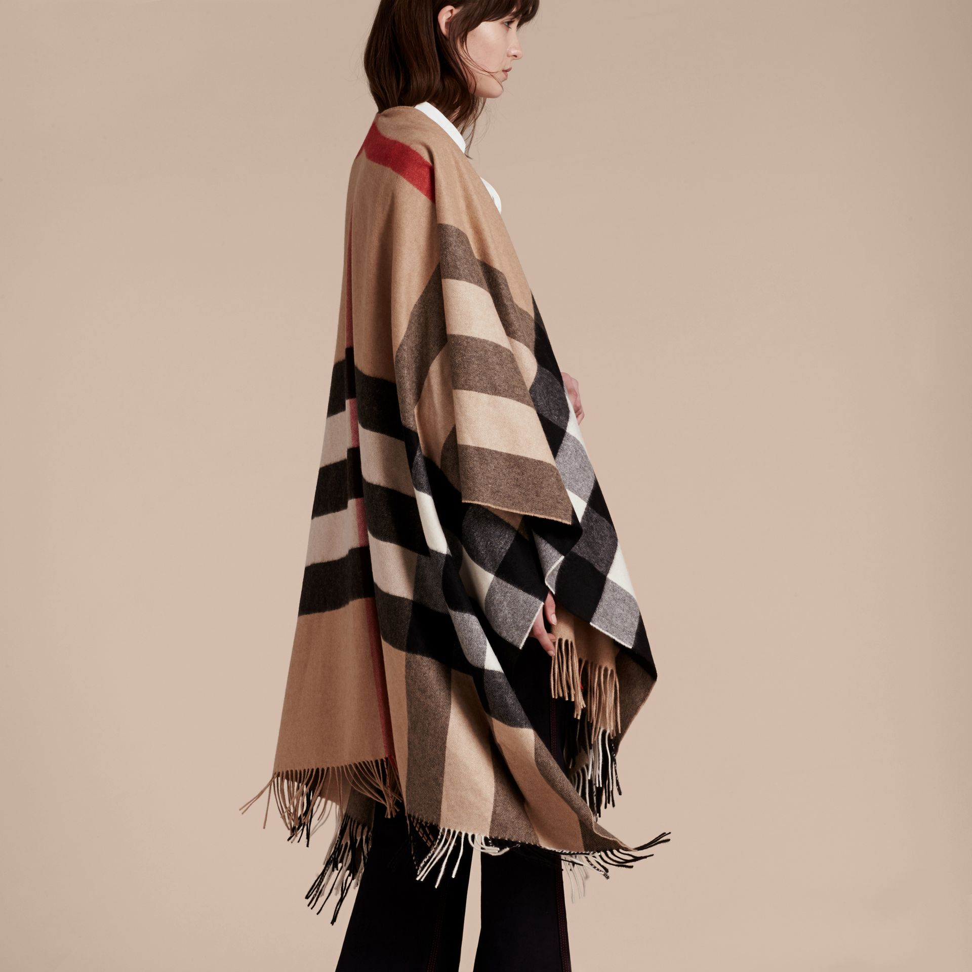 Camel Check Cashmere Poncho - gallery image 7