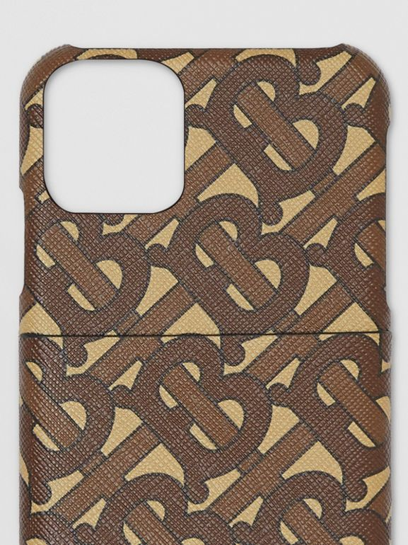 모노그램 프린트 E-캔버스 아이폰 11 프로 케이스 (브라이들 브라운) - 남성 | Burberry - cell image 1
