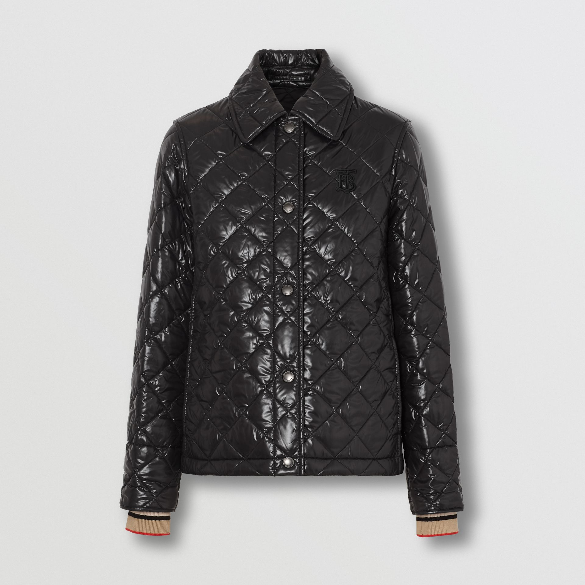 Monogram Motif Diamond Quilted Jacket in Black - Women | Burberry United Kingdom - gallery image 3