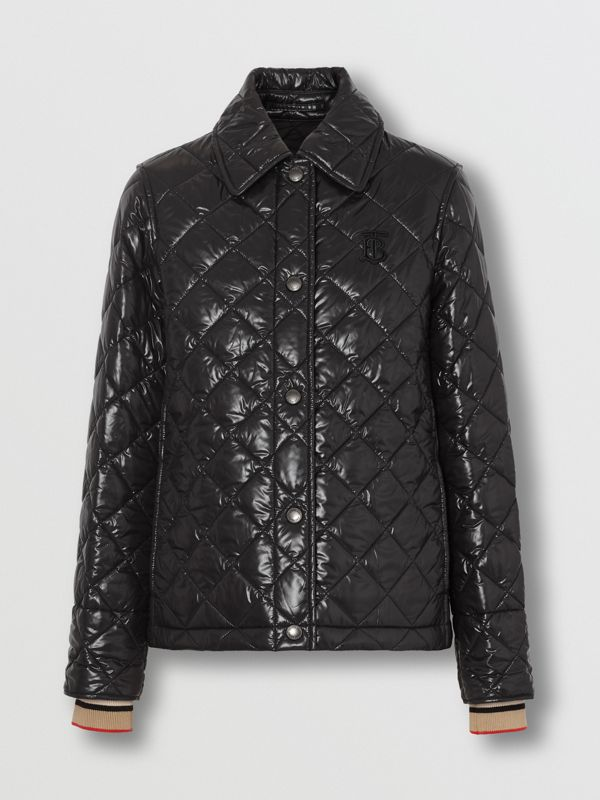 Monogram Motif Diamond Quilted Jacket in Black - Women | Burberry United Kingdom - cell image 3
