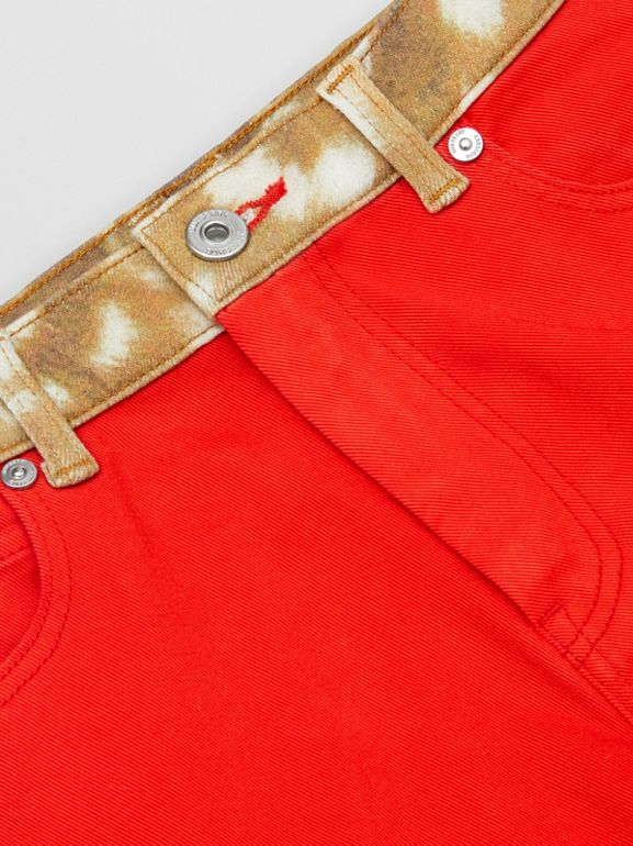 Flared Fit Deer Print Trim Japanese Denim Jeans in Bright Red | Burberry - cell image 1