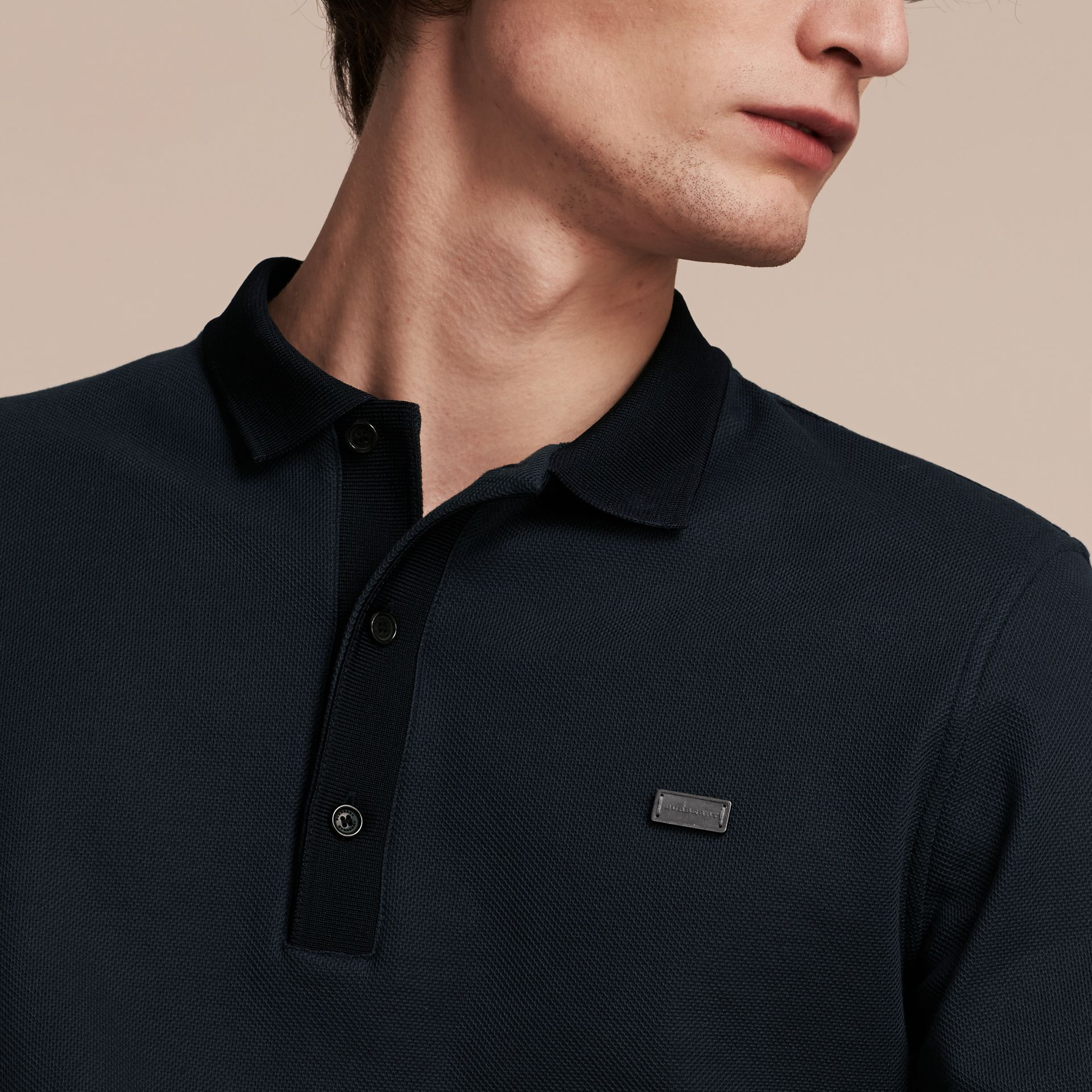 Storm blue/navy Long-sleeved Cotton Piqué Polo Shirt Storm Blue/navy - gallery image 5