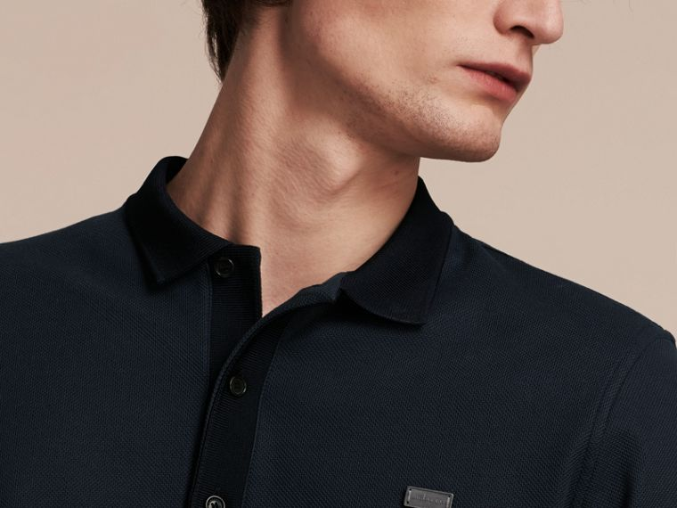 Storm blue/navy Long-sleeved Cotton Piqué Polo Shirt Storm Blue/navy - cell image 4