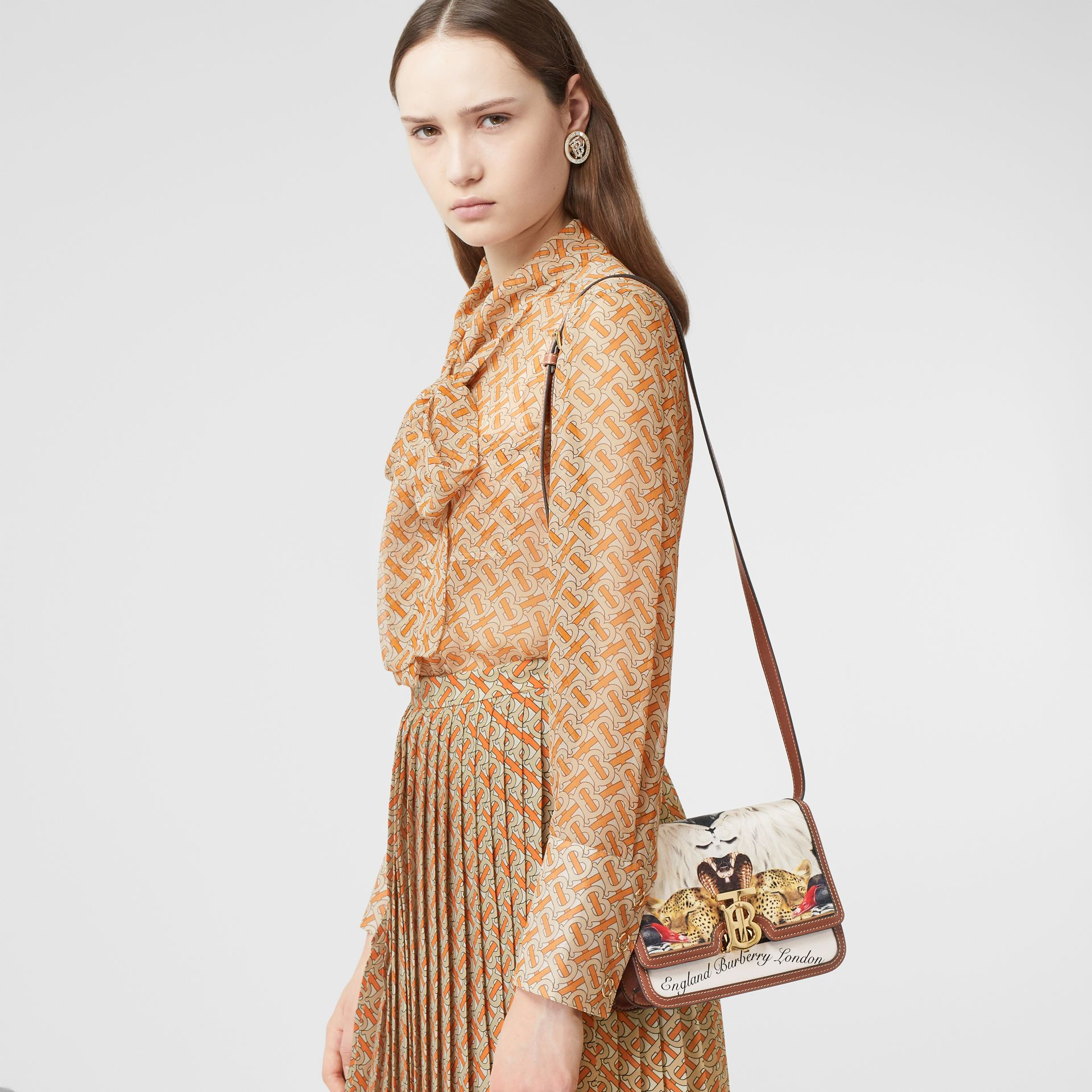 Small Animalia Print Silk and Leather TB Bag in Tan - Women | Burberry Australia - gallery image 7