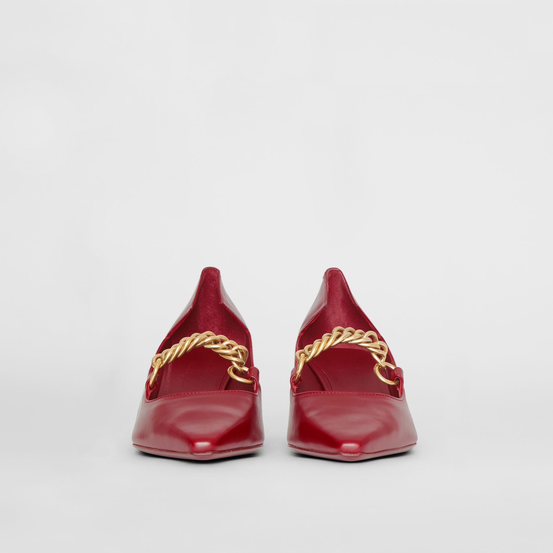 Link Detail Leather Point-toe Pump in Claret - Women | Burberry - gallery image 3