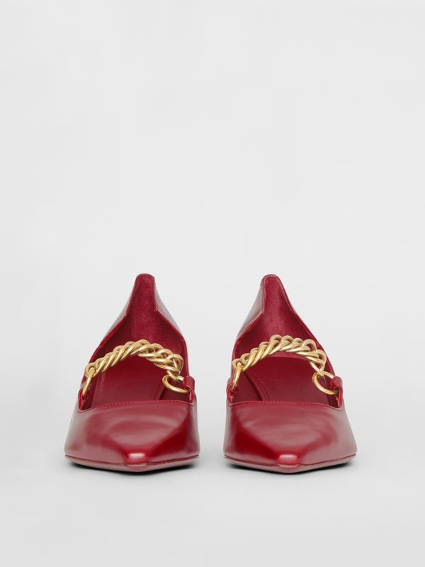 Link Detail Leather Point-toe Pump in Claret - Women | Burberry - cell image 3