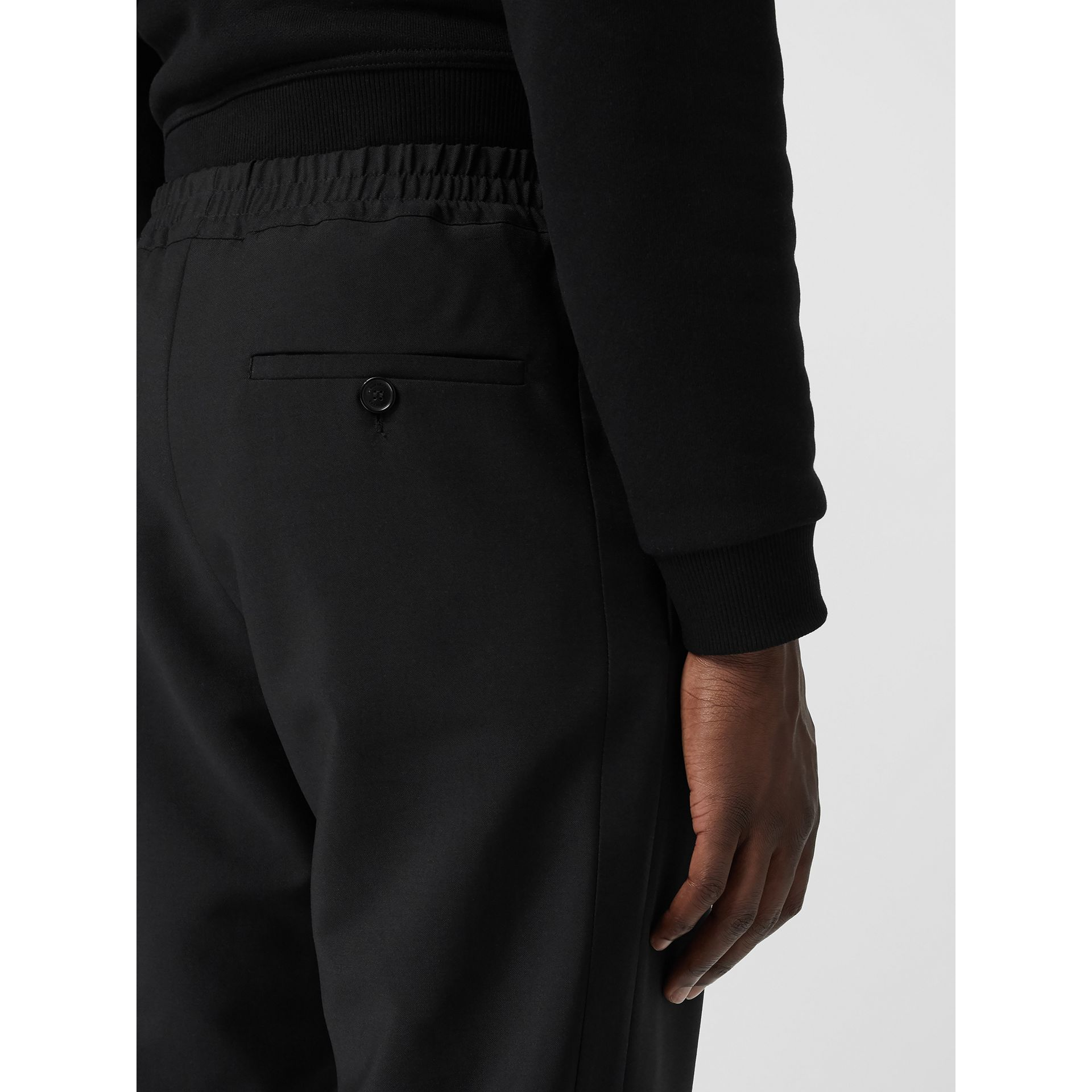 Wool Mohair Tapered Trousers in Black - Men | Burberry - gallery image 4