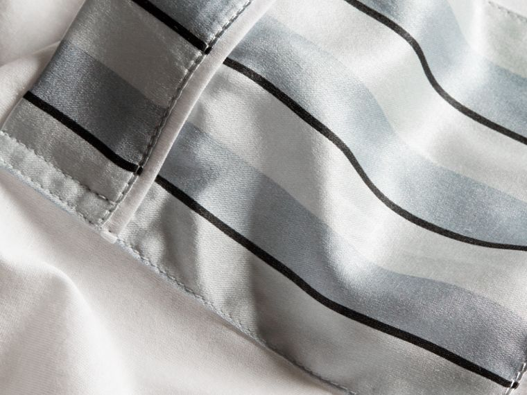 White Cotton T-shirt with Pyjama Stripe Pocket - cell image 1