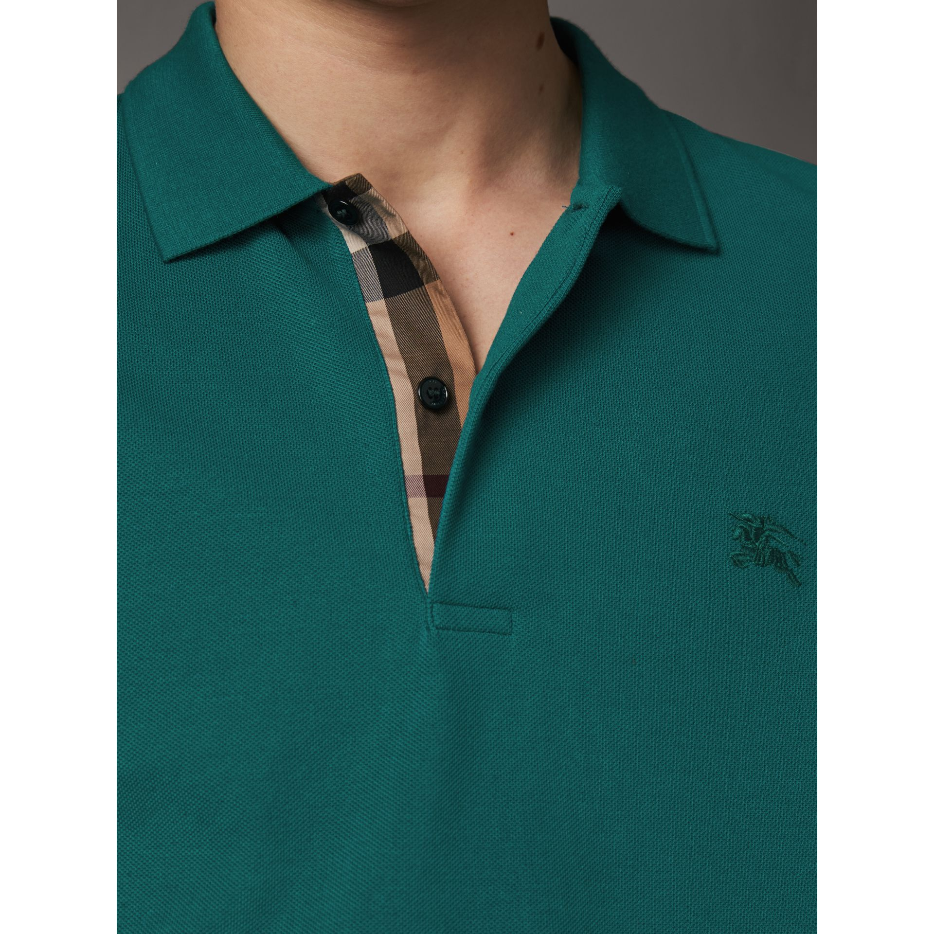 Check Placket Cotton Piqué Polo Shirt in Pine Green - Men | Burberry United States - gallery image 1