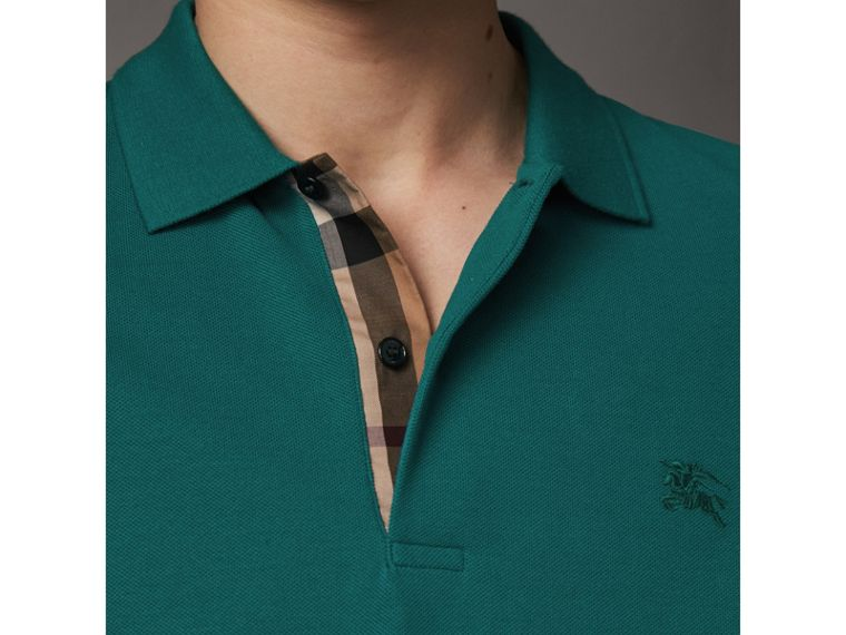 Check Placket Cotton Piqué Polo Shirt in Pine Green - Men | Burberry - cell image 1