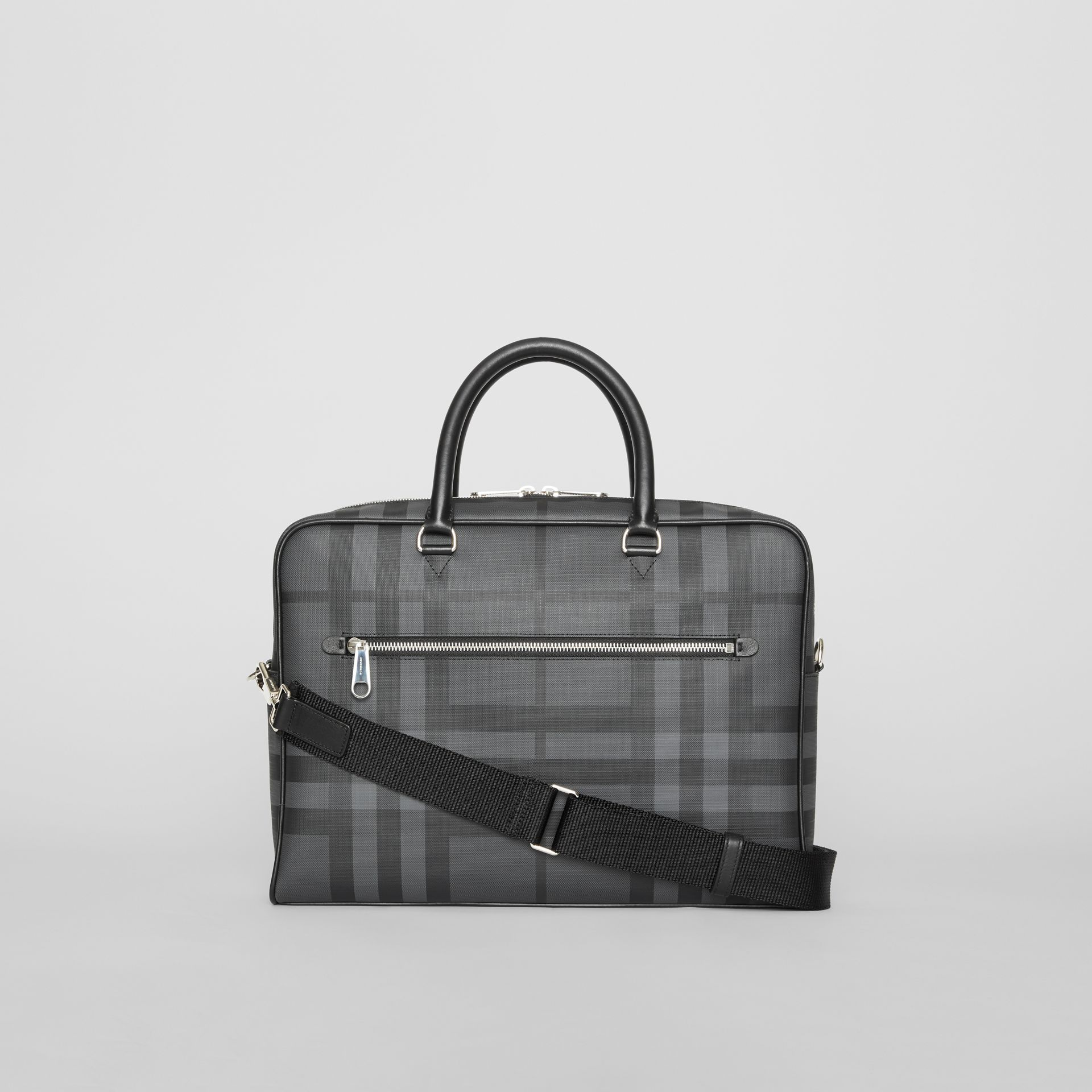 London Check and Leather Briefcase in Charcoal/black - Men | Burberry Australia - gallery image 7