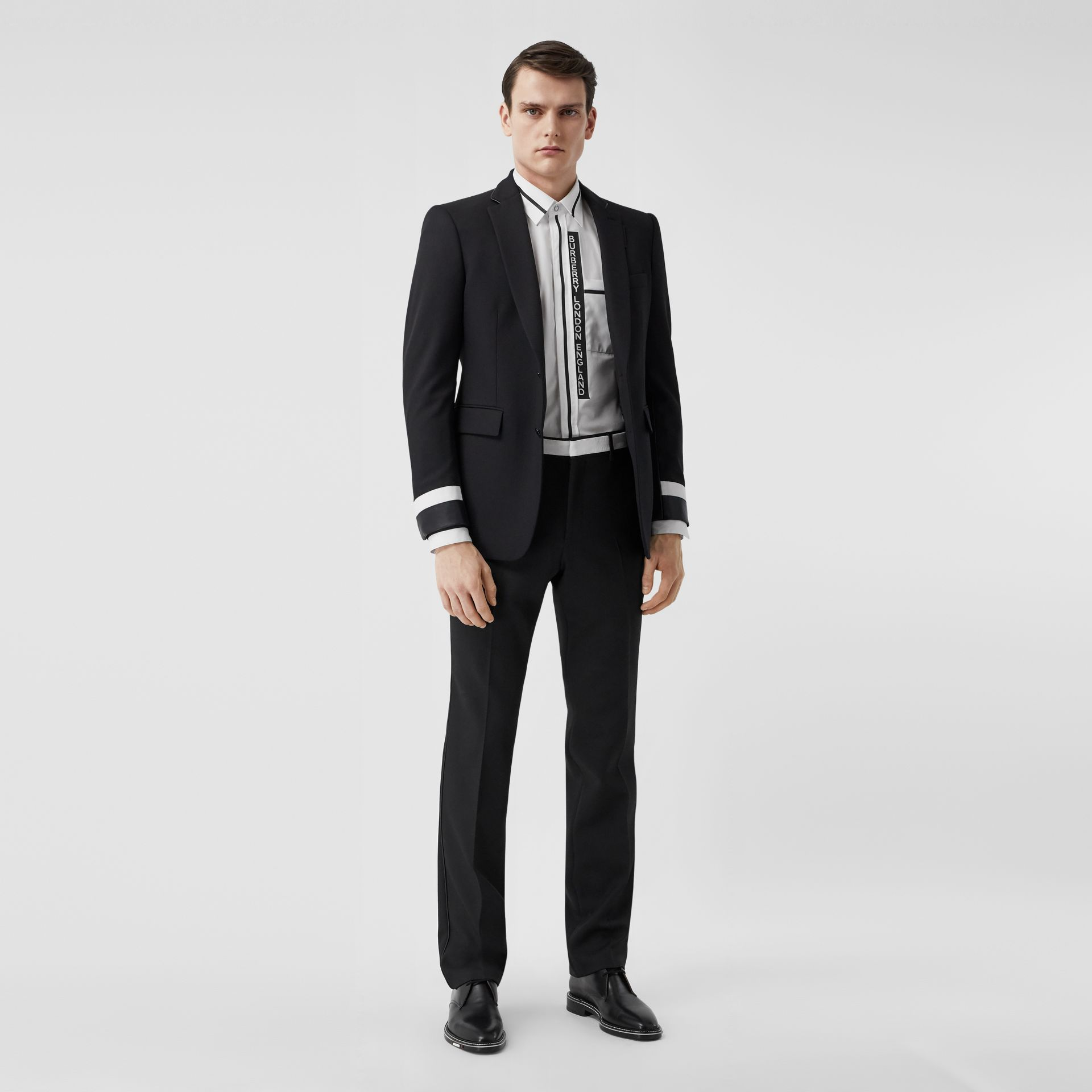 Classic Fit Lambskin Detail Wool Tailored Jacket in Black | Burberry United Kingdom - gallery image 5