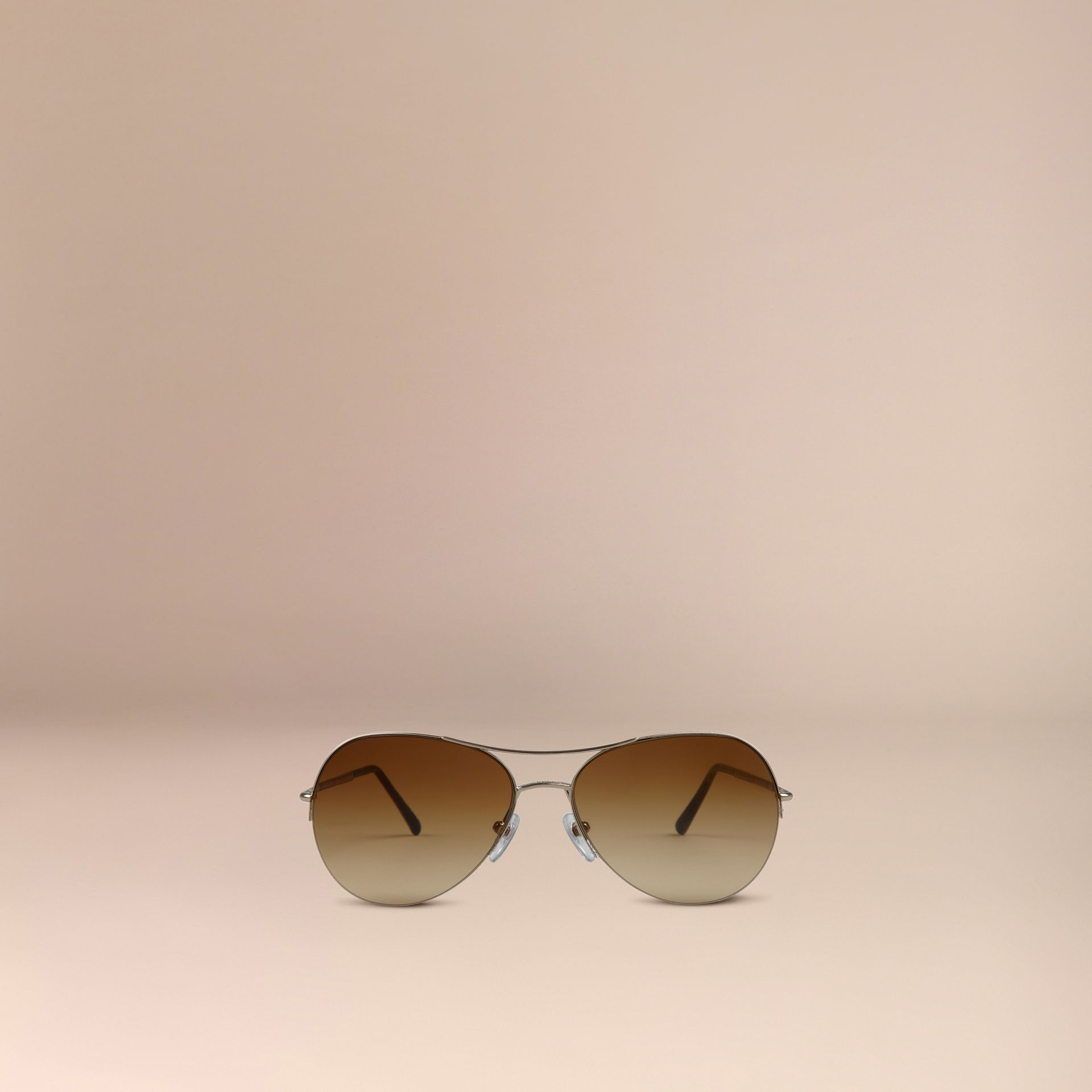 Half-Frame Pilot Sunglasses in Pale Gold - Women | Burberry Australia - gallery image 2