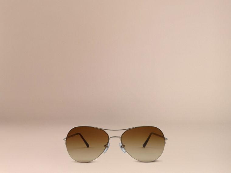Half-Frame Pilot Sunglasses in Pale Gold - Women | Burberry Australia - cell image 1