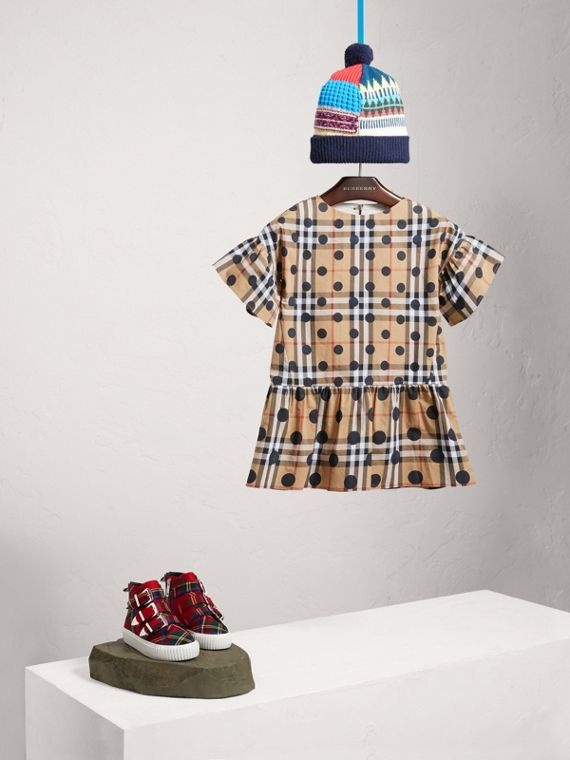 Gathered Polka-dot Check Cotton Dress in Navy - Girl | Burberry Australia - cell image 2