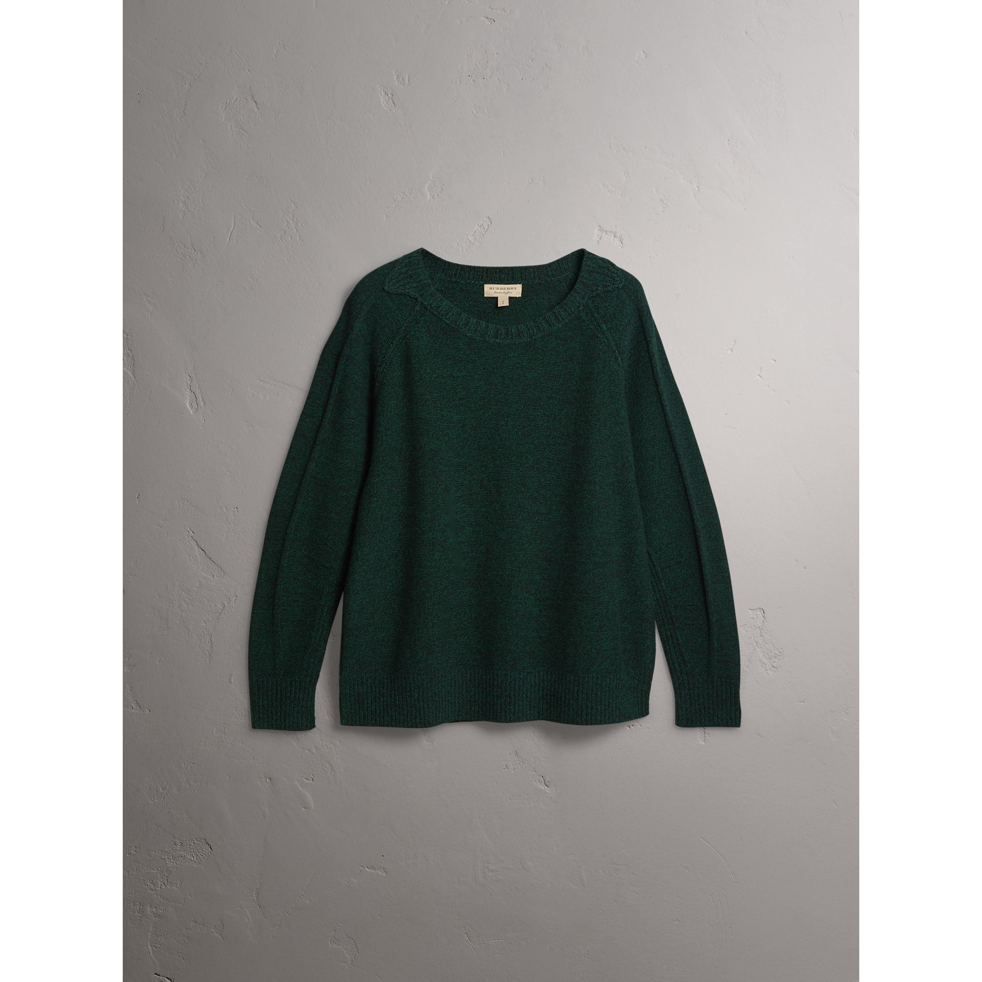Melange Wool Sweater in Dark Forest Green - Women | Burberry - gallery image 4
