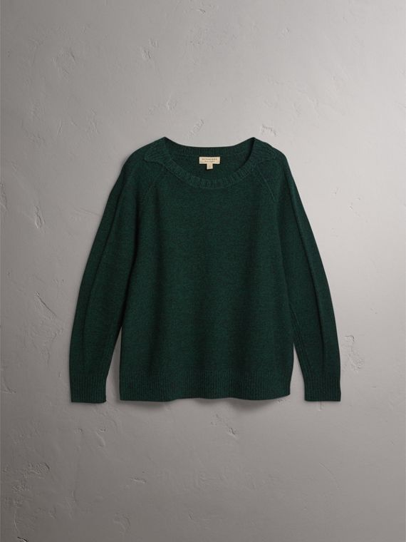 Melange Wool Sweater in Dark Forest Green - Women | Burberry United Kingdom - cell image 3