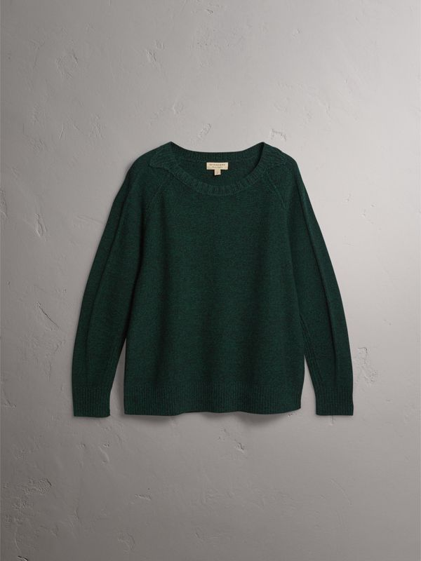 Melange Wool Sweater in Dark Forest Green - Women | Burberry - cell image 3